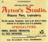 Advert for Ayton Studio, Shipquay Place, Londonderry, 1900