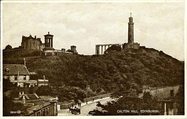 Valentine Postcard 3 -  Waterloo Place and Calton Hil