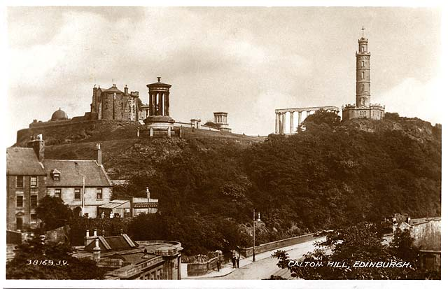 Valentine Postcard 4-  Waterloo Place and Calton Hil