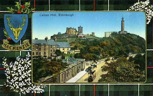 Valentine Postcard 6 -  Waterloo Place and Calton Hil